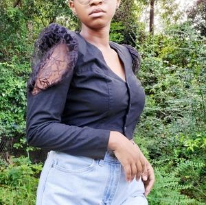 90s vintage black lace balloon sleeve crop top